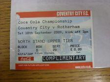 18/09/2004 BIGLIETTO: COVENTRY CITY V Rotherham United [COMPLETA BIGLIETTO, complimento