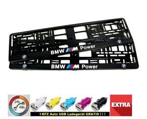 BMW-M-POWER-I-2x-Kennzeichenhalter-2D-I-Neu-hit-Kennzeichenhalterung-I