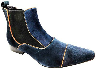 Gucinari 8020 Men's Navy Blue Suede Pull On Chelsea Dealer Ankle Boots New