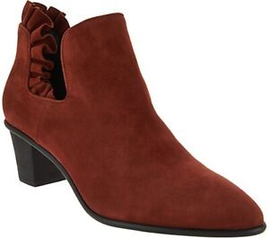 Lori-Goldstein-Collection-Ankle-Bootie-with-Ruffle-Detail-Redwood-Suede-8-5