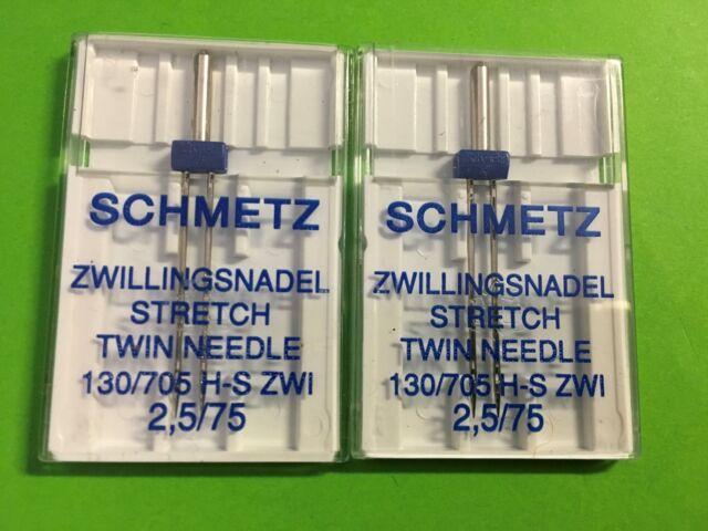 Agujas Gemelas , estiramiento Para Máquina de coser 2,5 mm75- 2 piezas