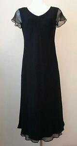 Jones-New-York-Black-Dress-w-Sheer-Short-Sleeves-Size-6