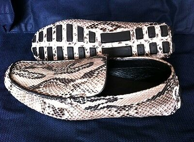 GENUINE PYTHON SKIN LEATHER NATURAL COLOUR MENS SHOES LOAFERS DRIVING MOCCASIN