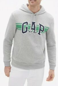 GAP-Mens-Size-XL-Chest-Stripe-Logo-Pullover-Hoodie-Sweatshirt-Light-Heather-Grey