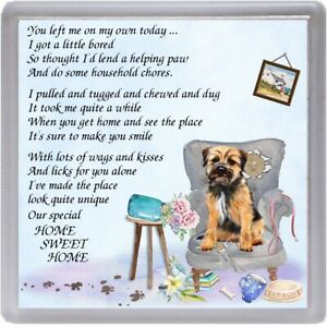 Border-Terrier-Dog-Coaster-034-HOME-SWEET-HOME-Poem-034-Novelty-Gift-by-Starprint