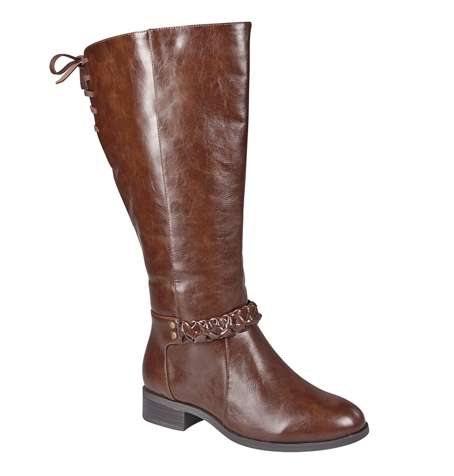 Avenue Women's Kara Braided Riding Boot Cognac 8 W US