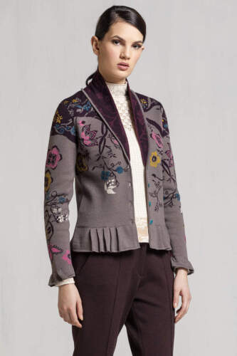 IVKO Giacca Cardigan marroni beige jacket with Pleats floral pattern tabac 72516