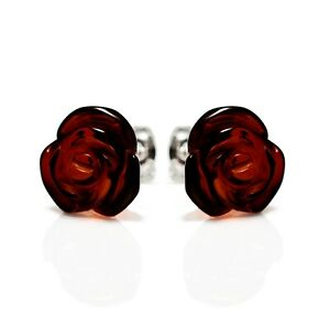 925-Sterling-Silver-Stud-Earrings-Rose-with-Cherry-Genuine-Natural-Baltic-Amber
