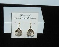 Danecraft 24k Gold Over Sterling Silver Dangling Fan Earrings