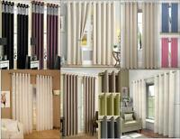 1 PAIR (2) FULLY LINED EYELET RING TOP CURTAINS ~ Many Designs, Colours & Sizes!
