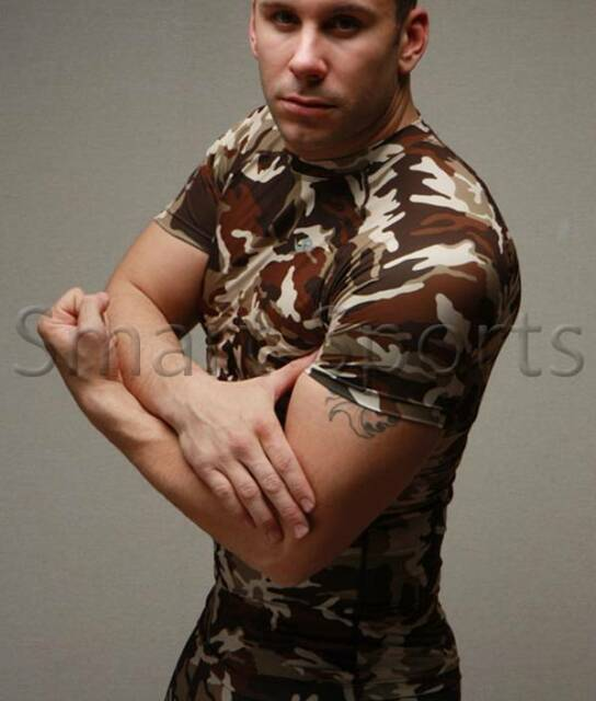 Mens Short Sleeve MILITARY CAMO Compression Shirt Sports Base Layer TOP Take 5