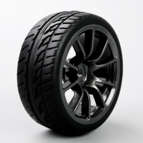 4Pcs 1:10 RC On Road Racing Car Black Wheel /&Rubber Tires Foam Insert 12mm Hex