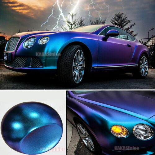 Car Chameleon Satin Chrome Glitter Pearl Metal Vinyl Wrap Sticker Purple Blue