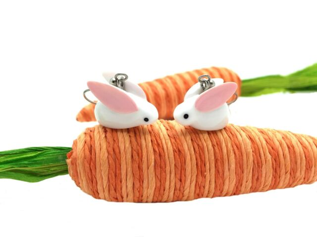 Handmade White Bunny with Big Pink Ears Easter Earrings with Jewelry Gift Box