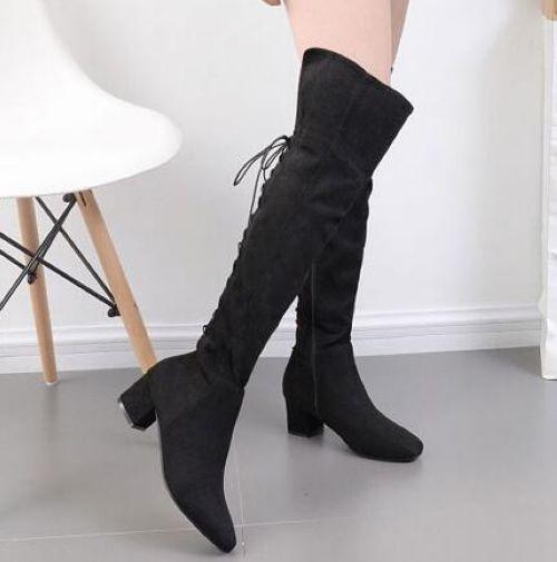 botas negro rodilla caldi muslo talón 5.5 cómodo caldi rodilla como piel 8838 8cee97