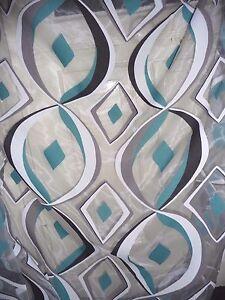 Das Bild Wird Geladen Heco Gardine Ausbrenner Retro Petrol Grau Weiss