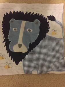 "Pottery Barn Kids Safari Friends Blue decorative sham 16"" Lion Bee Gingham NWT"