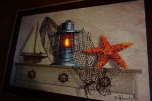 LIGHTED-NAUTICAL-RED-LANTERN-Sailboat-Ship-Starfish-Beach-Home-Decor-Sign-NEW