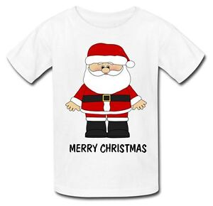 SKIING SANTA CLAUS GIRLS NOVELTY XMAS FATHER CHRISTMAS KIDS T-SHIRT