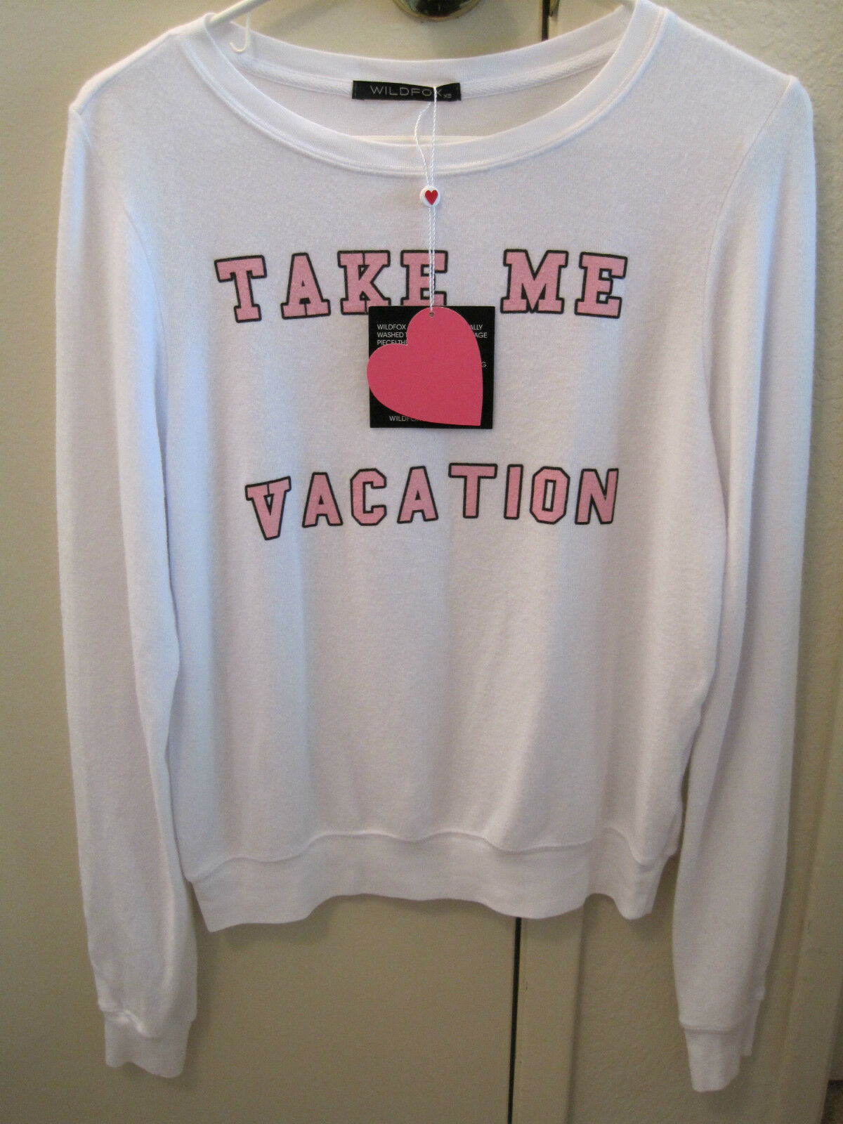 NWT Wildfox Couture Weiß Take Me On Vacation Baggy Beach Jumper Sweatshirt XS S