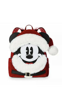 Disney-Parks-Red-Velvet-Mickey-Mouse-Santa-Mini-Backpack-By-Loungefly-New