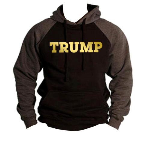Men/'s Gold Trump Black//Charcoal Raglan Hoodie US American President Sweater V198