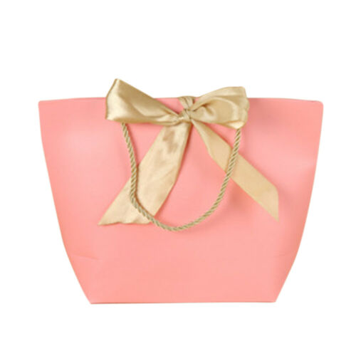 5pcs//pack Gift Bag Bow Ribbon Party Favor Pouch Celebration With Handles Paper