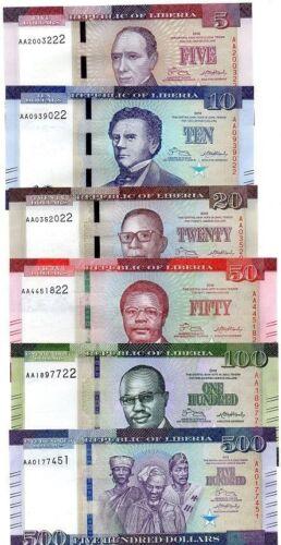 NEW Liberia  banknotes Complete SET L$ 5,10,20,50,100,500 Dollars 2016  UNC
