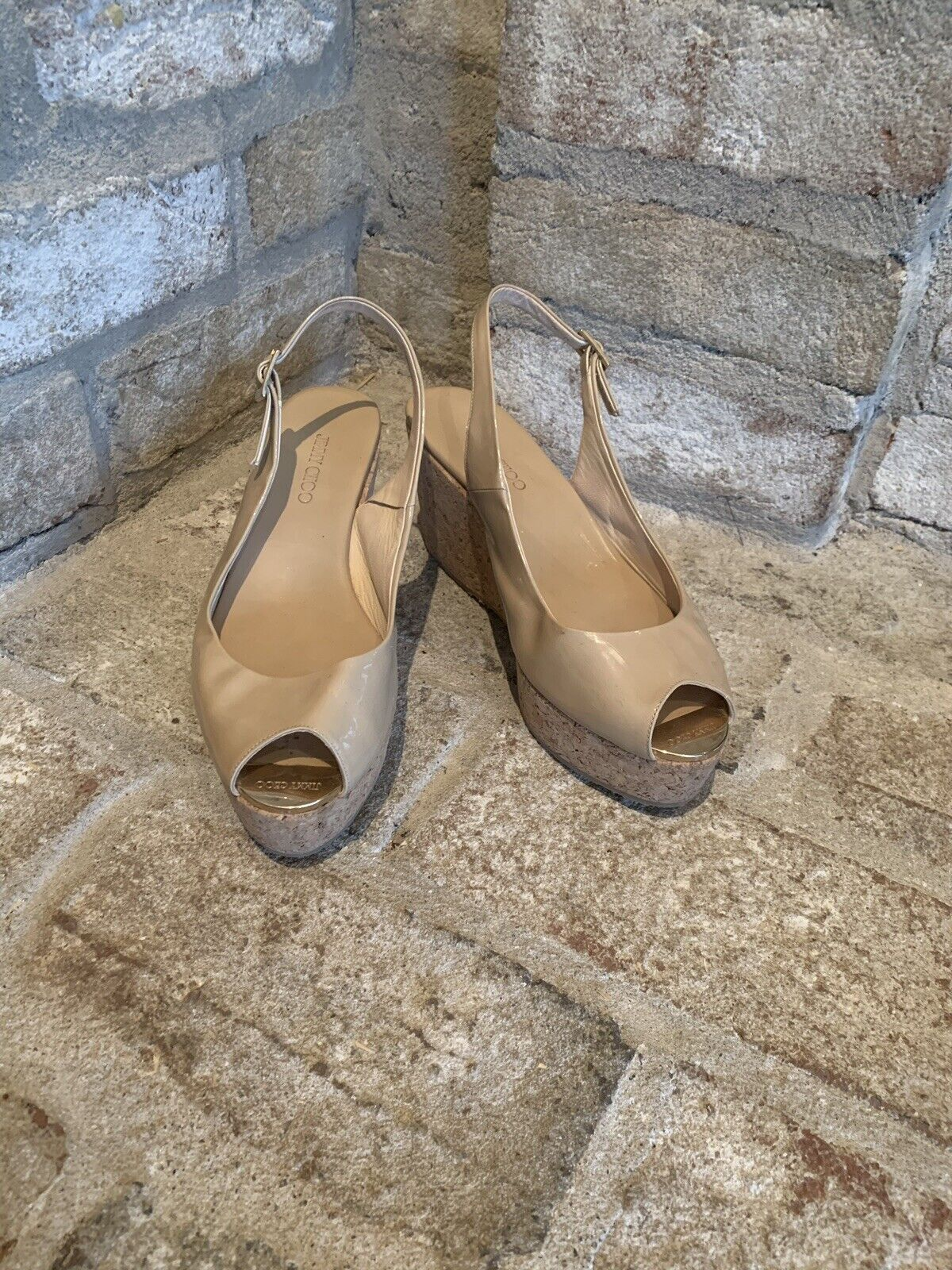 Jimmy Choo Nude Patent Leather Cork Wedge Sandal Size 37.5