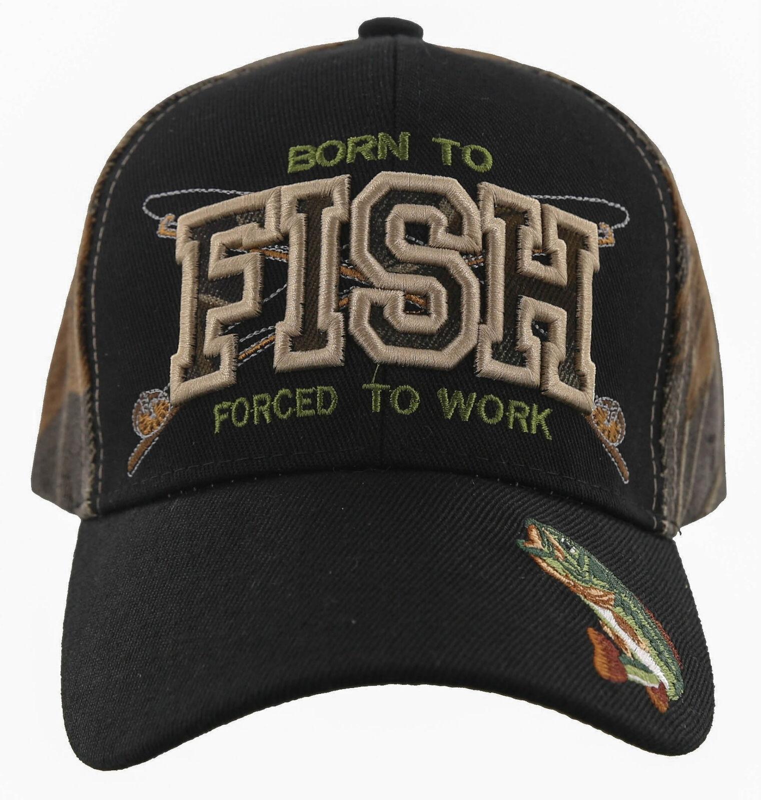 ! nuevo! nacido Para Pescar obligados a trabajar al aire libre Pesca Deportiva Cap Sombrero Negro