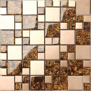 Image Is Loading Metallic Mix Brushed Steel Copper Effect Gl Mosaic