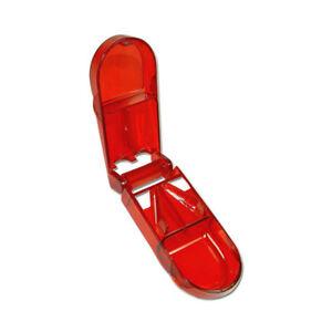 Pillenteiler-Tablettenteiler-transparent-rot-mit-Pillenfach