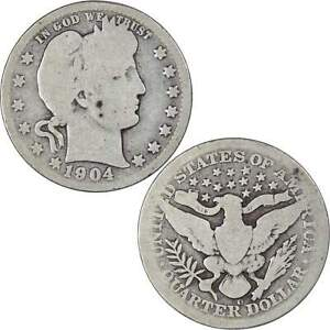 1904 O Barber Quarter AG About Good 90% Silver 25c US Type Coin Collectible