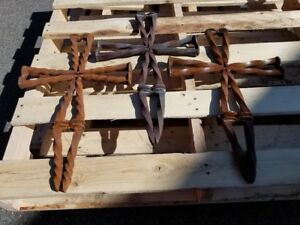 Image Is Loading Cross Rustic Industrial Welded Twisted Railroad Spikes