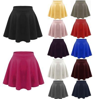 Girlzwalk Girls Children HIGH Waisted Stretch Plain Flippy Flared Short Kids Skater Skirts Baby Pink, 13 Years Old