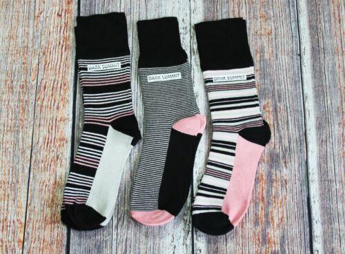 Womens Bamboo Fibre Stripy Socks Soft TopsNon-ElasticSet of 3