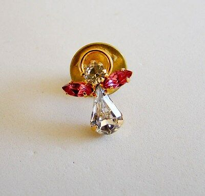 Brilliant Clear & Pink Stone Angel Pin Lapel Pin