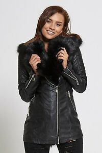 NEW WOMENS LADIES BLACK FAUX FUR COLLAR LEATHER LOOK TRENCH BIKER JACKET COAT