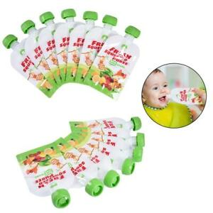 Reusable Baby Squeezed Pouch Weaning Food Puree Storage Food Bag 10PCS