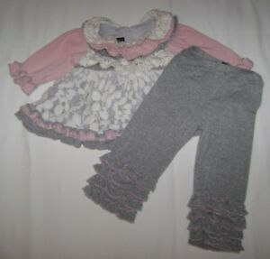 f08ac5d8 Details about Isobella & Chloe Grey/Pink Ruffle Lace Dress & Leggings  Boutique size 6 Months