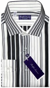 NEW-RALPH-LAUREN-PURPLE-LABEL-BLACK-amp-WHITE-DECO-STRIPE-DRESS-SHIRT-XL-44-17-5