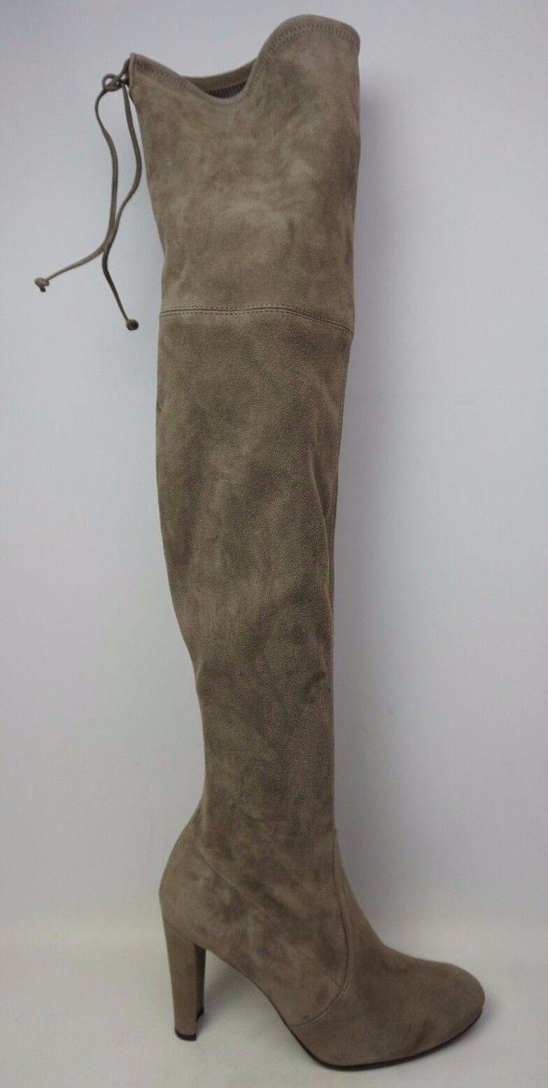 Stuart Weitzman Highland Over the Knee Praline Grey Suede Boots Size 9 M
