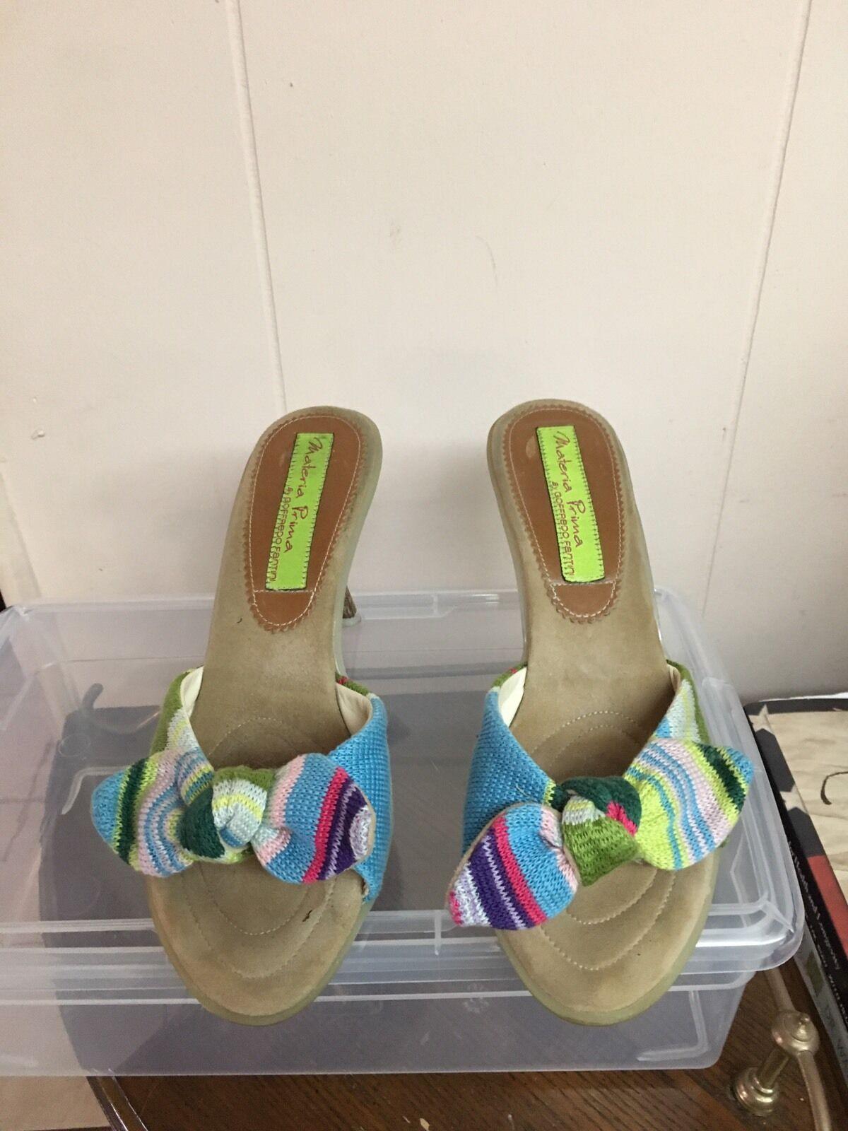 Materia Prima Sandals by Goffredo Fantini Tan Canvas Mule Sandals Prima Size 37.5 7.5 d3c8c4
