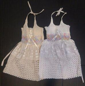Halter Dress Girls White & Beige Pastels Flower Embroidered w/tieback  2T-3T