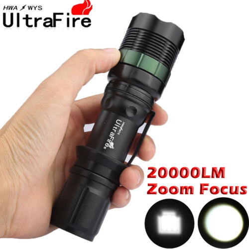 Tactical ZOOM 50000LM T6 LED Flashlight Torch Light Lamp Battery+Charger+Box