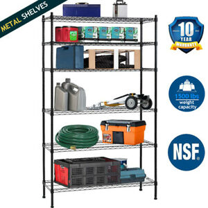 Details about 6 Tier Wire Shelving Unit NSF Metal Shelves Rack 1500 on