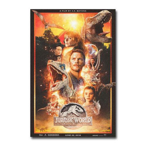 Jurassic World Fallen Kingdom Hot Movie Art Canvas Poster 12x18 24x36 inch