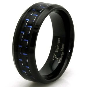 Details About Stainless Steel Blue Carbon Fiber Mens Black Wedding Band 8mm Free Engraving
