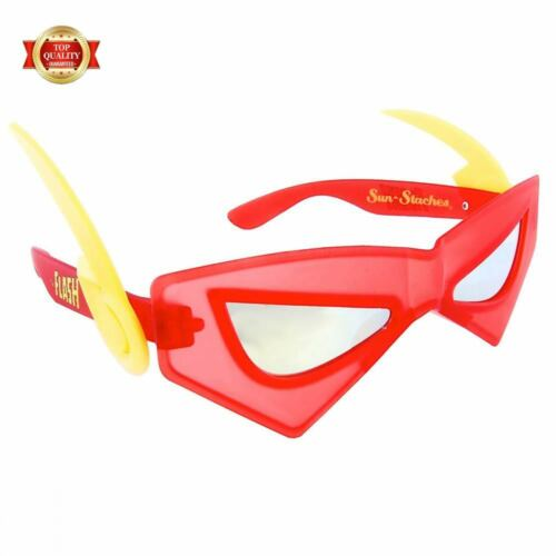 Sun-stache Licensed The Flash DC Super Hero Sun Shades Mask Glasses Red Adult