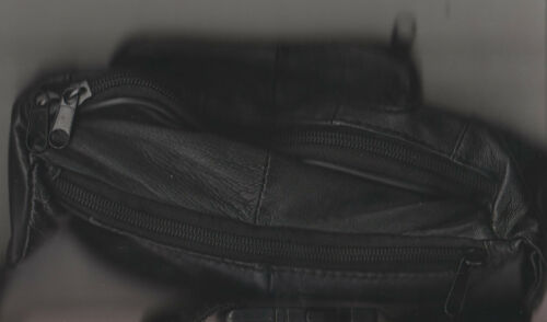 NEW WAIST BAG FANNY BLACK LEATHER BUM SOFT LEATHER BOTH SIDES
